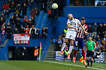 Atletico de Madrid´s Carrasco and Deportivo de la Coruna´s Laure during 2015-16 La Liga match between Atletico de Madrid and Deportivo de la Coruna at Vicente Calderon stadium in Madrid, Spain. March 12, 2016. (ALTERPHOTOS/Victor Blanco)
