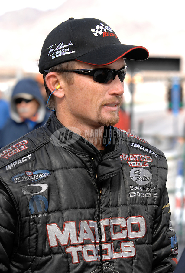 Jan 21, 2007; Las Vegas, NV, USA; NHRA Top Fuel Dragster driver Jack Beckman during preseason testing at The Strip at Las Vegas Motor Speedway in Las Vegas, NV. Mandatory Credit: Mark J. Rebilas