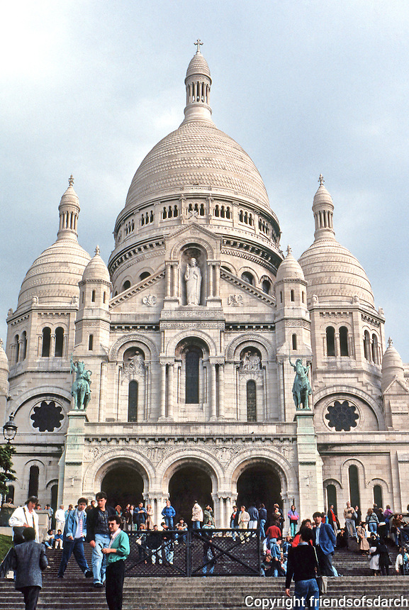 Paris: Sacre Coeur, 1876-1910. Architect Paul Abadie. Roman-Byzantine style. Made a state undertaking in 1873--a reaffirmation of faith & orthodoxy after Franco-Prussion & Commune. The Pilgrim Church of Sacred Heart. Photo '90.