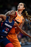 Washington, DC - July 30, 2019: Washington Mystics forward LaToya Sanders (30) and Phoenix Mercury center Brittney Griner (42) fight for position under the basket during first half action of game between the Phoenix Mercury and Washington Mystics at the Entertainment & Sports Arena in Washington, DC. (Photo by Phil Peters/Media Images International)