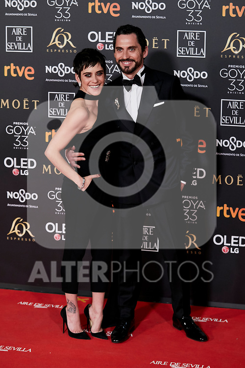 Maria Leon and Paco Leon attends to 33rd Goya Awards at Fibes - Conference and Exhibition  in Seville, Spain. February 02, 2019. (ALTERPHOTOS/A. Perez Meca)