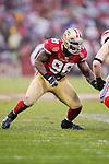 San Francisco 49ers linebacker Parys Haralson (98) plays defense during an NFC Championship NFL football game against the New York Giants on January 22, 2012 in San Francisco, California. The Giants won 20-17 in overtime. (AP Photo/David Stluka)