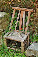 Old chair and flower, Hongcun, China