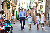 Queen Letizia, Princess Sofia, Princess Leonor and King Felipe before arrive to  the modernist museum Can Prunera de Soller