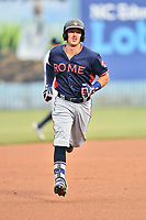 Rome Braves catcher Brett Cumberland (28) rounds the bases after hitting a home run during a game against the Asheville Tourists at McCormick Field on May 22, 2017 in Asheville, North Carolina. The Braves defeated the Tourists 7-3. (Tony Farlow/Four Seam Images)
