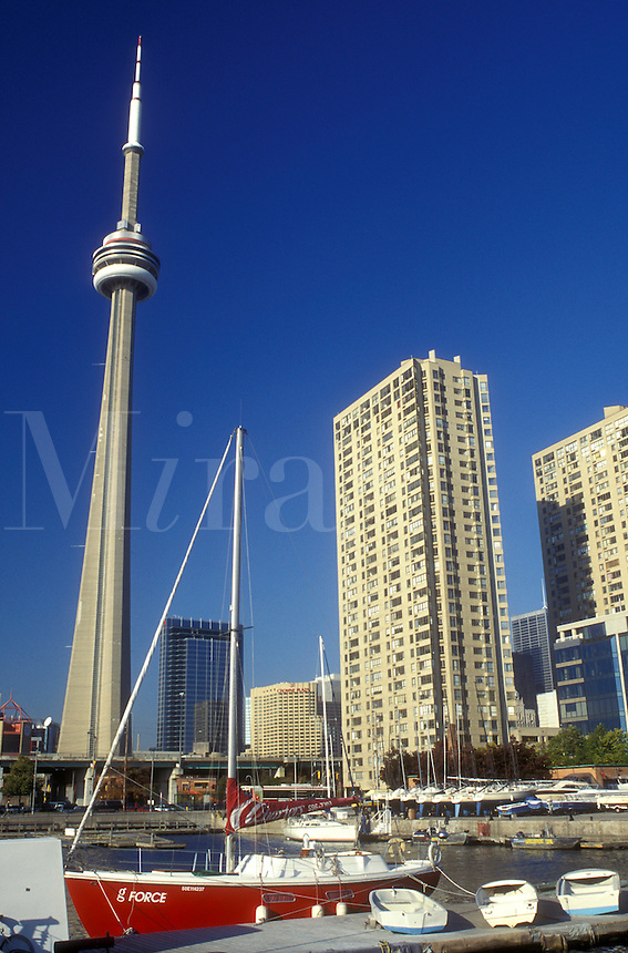 AJ0840, Canada, Ontario, Toronto, Downtown skyline of Toronto and CN Tower from Harborfront Center in Lake Ontario.