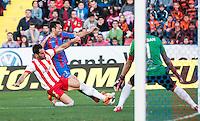 Esteban, Trujillo and Barral during the match at Levante U.D. 1 - 0 Almeria C.F. in BBVA League match played at the Ciudad de Valencia stadium (Valencia). Scoreboard: Barral for Levante. (photo: Francesc Juan)