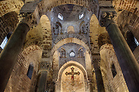 Low angle view of the apse from the nave with spolia columns and Byzantine style arcades, Chiesa di San Cataldo (Church of San Cataldo, La Cataldo), 1154, Palermo, Sicily, Italy. The Romanesque church with Arab influences was founded by Maio of Bari, chancellor to William I, during the Norman occupation of Sicily. Picture by Manuel Cohen