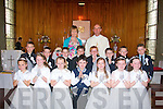 4425-4429.---------.Pupils from Faha National school who received their 1st Holy Communion last Saturday at the Immaculate Conception church Listry were(front)Anne Lee O;Mahony, Niamh Broderick, Ava Lynch, sean Collins, Kate Spillane, Tallula Belle Courtney and Shona Murphy(back)L-R Joshua O'Sullivan,Jack Walsh,Colin O'Sullivan,Jerry Courtney, Cathal Whelton, Joe Clifford, Patrick O'Connor and Joe O'Leary. pictured with them was Breda Murphy (teacher and Fr Pat O'Donnell.