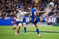 9th February 20020, Stade de France, Paris, France; 6-Nations international mens rugby union, France versus Italy;   Tommaso Allan  Kicks forward past Gregory Alldritt of  France