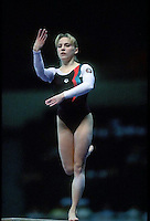July 26, 1998; New York, NY, USA;  Artistic gymnast Alena Polozkova from Belarus performs on balance beam at 1998 Goodwill Games New York. Copyright 1998 Tom Theobald