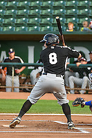 Bobby Stahel (8) of the Grand Junction Rockies at bat against the Ogden Raptors in Pioneer League action at Lindquist Field on September 3, 2015 in Ogden, Utah. Grand Junction defeated Ogden 16-8.  (Stephen Smith/Four Seam Images)