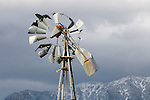 Broken, wind-bent Aermotor windmill in the southern Sierra Nevada mountains