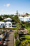 BERMUDA. View of houses and street in front fo the Hamilton Princess & Beach Club Hotel.