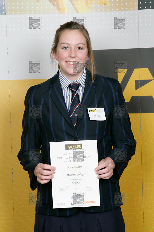 Girls Rowing winner Sarah Williams. ASB College Sport Young Sportperson of the Year Awards 2007 held at Eden Park on November 15th, 2007.