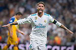 Real Madrid's Sergio Ramos celebrating a goal during UEFA Champions League match between Real Madrid and Apoel at Santiago Bernabeu Stadium in Madrid, Spain September 13, 2017. (ALTERPHOTOS/Borja B.Hojas)