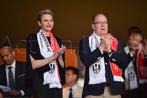 May 3rd 2017, Stade Louis II, Monaco,France; UEFA Champions league football semi-final, AS Monaco versus Juventus;  PRINCE ALBERT II DE MONACO qand Charlene Wittstock