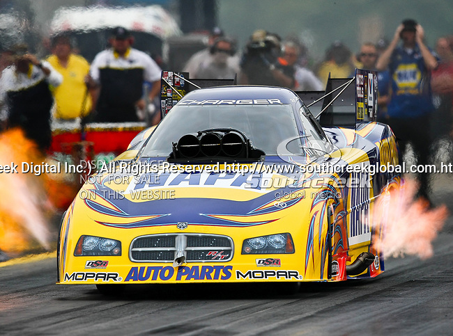 Ron Capps #28, driver for Napa Auto Parts Funny Car makes a run at the O'Reilly Fall Nationals held at the Texas Motorplex in  Ennis, Texas.