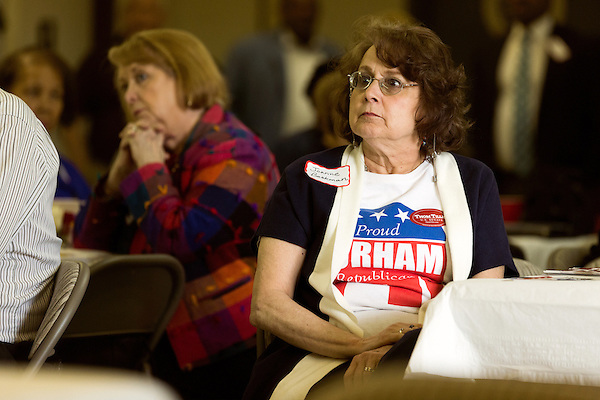 April 6, 2014. Durham, North Carolina.<br />  Joanne Beckman listened intently to the candidates.<br /> As the the primary scheduled for May 6th grows near, several of the the eight Republican candidates running for the US Senate seat of incumbent Democrat Kay Hagan have increased their public visibility, appearing at events such as the Durham County Lincoln Douglas Lunch, where each candidate was given a few minutes to address the gathered Republican friendly crowd.