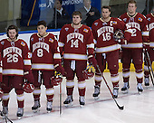 Evan Janssen (DU - 26), Trevor Moore (DU - 8), Larkin Jacobson (DU - 14), Zac Larraza (DU - 16), Ty Loney (DU - 12) - The Boston College Eagles defeated the University of Denver Pioneers 6-2 in their NCAA Northeast Regional semi-final on Saturday, March 29, 2014, at the DCU Center in Worcester, Massachusetts.