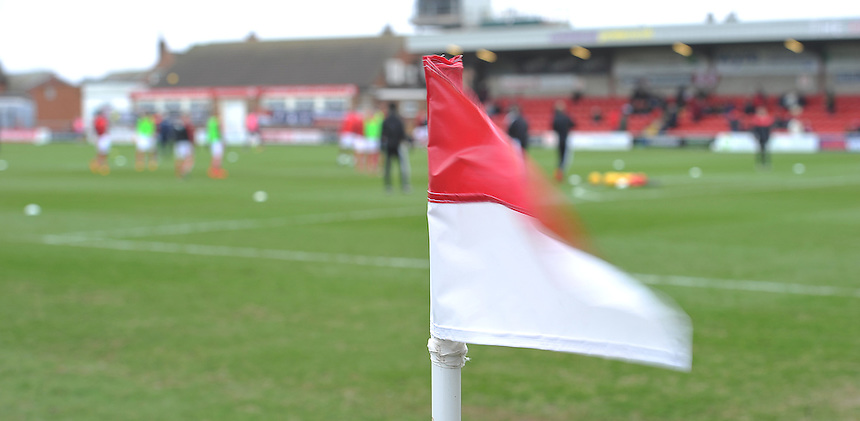 A corner flag blows in the strong wind<br /> <br /> Photographer Dave Howarth/CameraSport<br /> <br /> Football - The Football League Sky Bet League One - Fleetwood Town v Shrewsbury Town - Sunday 7th February 2016 - Highbury Stadium - Fleetwood  <br /> <br /> &copy; CameraSport - 43 Linden Ave. Countesthorpe. Leicester. England. LE8 5PG - Tel: +44 (0) 116 277 4147 - admin@camerasport.com - www.camerasport.com