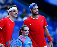 5th January 2020; RAC Arena, Perth, Western Australia; ATP Cup Australia, Perth, Day 3; Russia versus USA; Taylor Fritz of the USA and Karen Khachanov of Russia pose for a photograph - Editorial Use