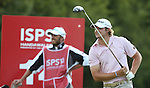 Peter Uihlein watches his tee shot on the 14th during the 3rd round of ISPS Handa Wales Open 2013<br /> Celtic Manor Resort<br /> <br /> 31.08.13<br /> <br /> ©Steve Pope-Sportingwales