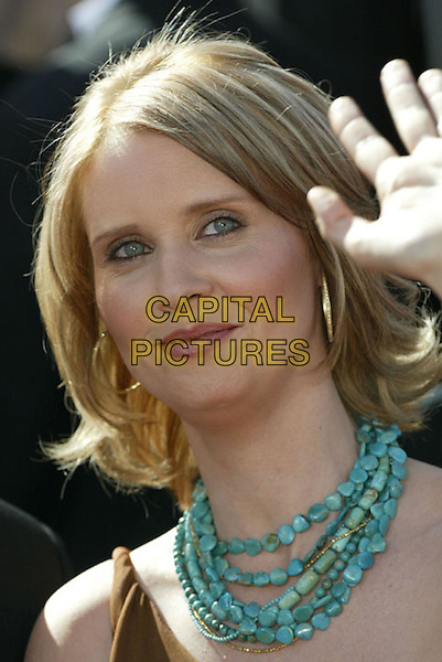 CYNTHIA NIXON.At the 56th Annual Prime Time Emmy Awards held the Shrine Auditorium, Los Angeles, CA, USA, .19th September, 2004..portrait headshot waving green turqouoise chunky stone necklace gold hoop earrings.Ref: ADM.www.capitalpictures.com.sales@capitalpictures.com.©Charles Harris/AdMedia/Capital Pictures .