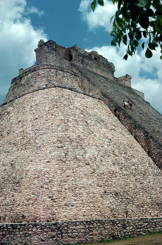 Pyramid of the Magician at the Mayan ruins at Uxmal. Yucatan, Mexico.