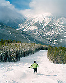 CANADA, BC Rockies, skiing the bumps at Panorama Ski Resort with snow covered mountain in background