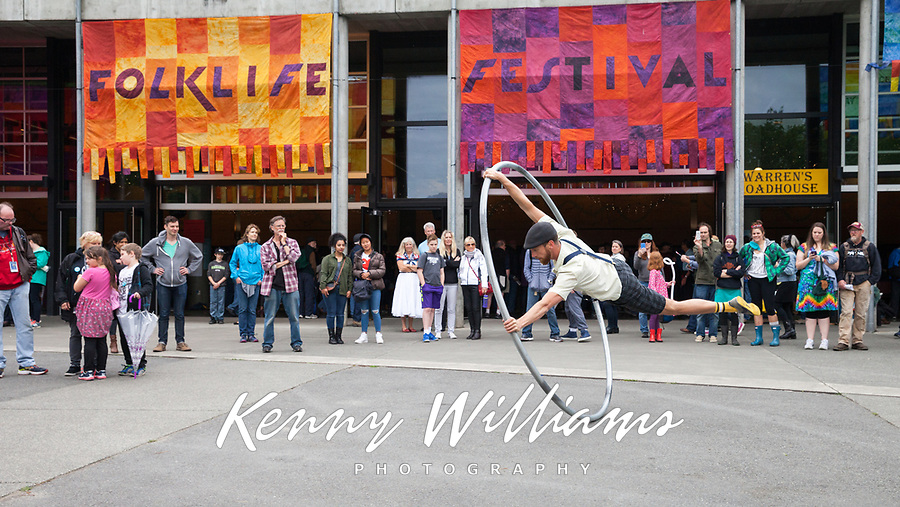 Cyr Wheel Street Performer, Northwest Folklife Festival 2016, Seattle Center, Washington, USA.