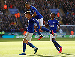 Harvey Barnes of Leicester City celebrates his goal against Chelsea with Youri Tielemans and Ricardo Pereira during the Premier League match at the King Power Stadium, Leicester. Picture date: 1st February 2020. Picture credit should read: Darren Staples/Sportimage