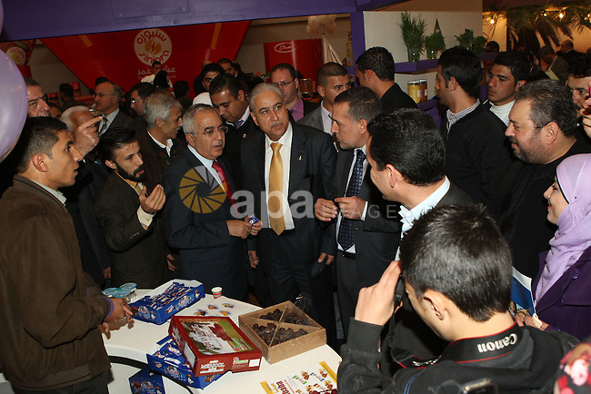 Palestinian Prime Minister Salam Fayyad attends the Palestinian Food Industries Association Week 2011 trade fair 'Our Food', from 15 to 18 December, in the West Bank City of Nablus, on 15 December 2011. 'Our Food' will comprise of a variety of events, seminars and activities. Photo by Mustafa Abu Dayeh