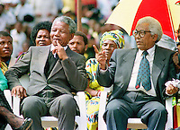 Nelson Mandela and Walter Sisulu of the African National Congress (ANC) at a rally in Soweto after Mandela's release from prison.