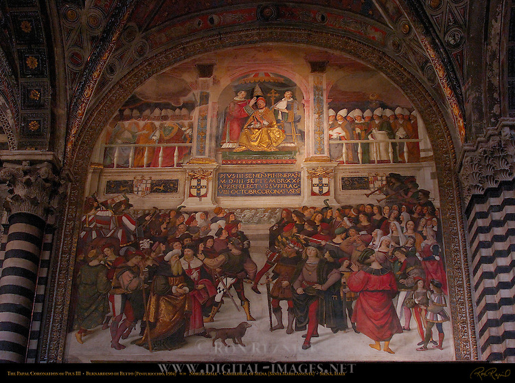 The Papal Coronation of Pius III, Bernardino di Betto Pinturicchio 1504, Entrance to Piccolomini Library, Cathedral of Siena, Santa Maria Assunta, Siena, Italy
