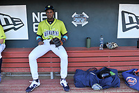 Third baseman Shervyen Newton (3) of the Columbia Fireflies in the dugout before a game against the Hickory Crawdads on Wednesday, August 28, 2019, at Segra Park in Columbia, South Carolina. Hickory won, 7-0. (Tom Priddy/Four Seam Images)