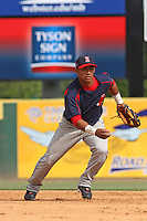 Second baseman Luis Segovia  of the Salem Red Sox fielding during a game against  the Myrtle Beach Pelicans on May 3, 2009