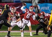 Hawgs Illustrated/BEN GOFF <br /> Ben Hicks, Arkansas quarterback, throws the ball in the fourth quarter vs Missouri Saturday, Nov. 29, 2019, at War Memorial Stadium in Little Rock.