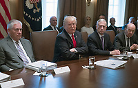 United States President Donald J. Trump makes opening remarks as he holds a Cabinet meeting in the Cabinet Room of the White House in Washington, DC on Wednesday, January 10, 2018.  Pictured from left to right: US Secretary of State Rex Tillerson; President Trump; US Secretary of Defense Jim Mattis; and US Secretary of Commerce Wilbur Ross.<br /> CAP/MPI/RS<br /> &copy;RS/MPI/Capital Pictures