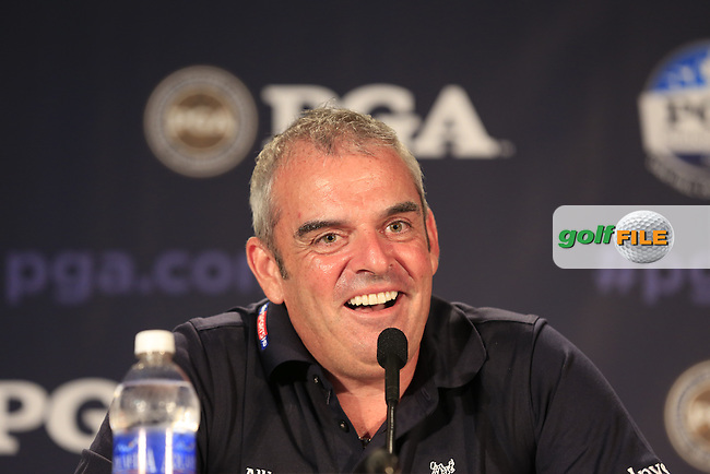 2014 European Ryder Cup Captain Paul McGinley (IRL) speaks in the interview room during Wednesday's Practice Day of the 95th US PGA Championship 2013 held at Oak Hills Country Club, Rochester, New York.<br /> 7th August 2013.<br /> Picture: Eoin Clarke www.golffile.ie