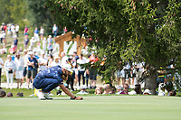 Erik Van Rooyen (RSA) lines up his putt on the 16th hole during third round at the Omega European Masters, Golf Club Crans-sur-Sierre, Crans-Montana, Valais, Switzerland. 31/08/19.<br /> Picture Stefano DiMaria / Golffile.ie<br /> <br /> All photo usage must carry mandatory copyright credit (© Golffile | Stefano DiMaria)