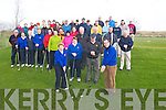 DRIVE IN: Lady Captain Catherine Kearns and Captain Eddie Morrison at their Drive In on Sunday morning at Ardfert Golf Club. Looking on were Rebecca McCarthy and Maurice Egan (Presidents) and fellow members of Ardfert Golf Club. .