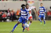 Ugo Ihemelu (3) of FC Dallas is chased by Macoumba Kandji (10) of the New York Red Bulls. The New York Red Bulls defeated FC Dallas 2-1 during a Major League Soccer (MLS) match at Red Bull Arena in Harrison, NJ, on April 17, 2010.