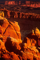 714000062 the sandstone formation called the fiery furnace turns golden red in sunset light in arches national park in utah