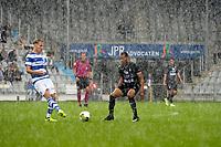 DOETINCHEM - Voetbal. De Graafschap - FC Emmen, voorbereiding seizoen 2017-2018, 12-08-2017,  hevige stortbui tijdens de wedstrijd