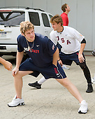 Kenny Ryan (US - 20), Cam Fowler (US - 16), (Carlson) - Team USA warms up outside the rinks prior to their fourth game against Team Russia during the 2009 USA Hockey National Junior Evaluation Camp on Saturday, August 15, 2009, in Lake Placid, New York.