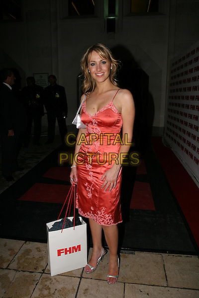 SOPHIE BLAKE.FHM 100 Sexiest Women Party 2004, Guildhall,.London,.3rd June 2004..full length full-length red satin dress .www.capitalpictures.com.sales@capitalpictures.com.©Capital Pictures