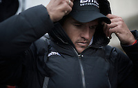 after the podium ceremony Greg Van Avermaet (BEL/BMC) hid in an oversized 'bubble' jacket to get warm again<br /> <br /> 71st Omloop Het Nieuwsblad 2016
