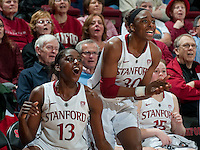 STANFORD, CA-JANUARY 18, 2012 - Sisters Chiney Ogwumike and  Nnemkadi Ogwumike celebrate a score in the second half against the visiting Washington State Cougars. The Cardinal defeated WSU 75-41.