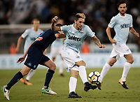 Calcio, Serie A: Roma, stadio Olimpico, 20 settembre 2017.<br /> Lazio's Luis Alberto Romero (r) in action with Napoli's Jorginho (l) during the Italian Serie A football match between Lazio and Napoli at Rome's Olympic stadium, September 20, 2017.<br /> UPDATE IMAGES PRESS/Isabella Bonotto